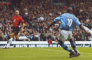 Man utd home 2002 to 03 goater 1st goal