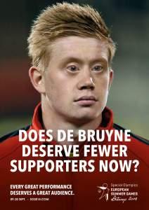 Kampanjen der Kevin De Bruynes ansikt ble redigert for å få det til å se ut som om han hadde Downs syndrom, sørget for oppmerksomhet.