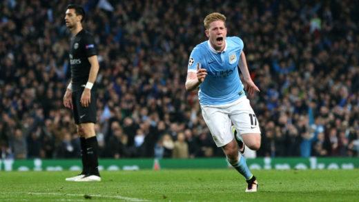 Kevin De Bruyne scoret kampens eneste mål da City slo Paris Saint Germain 1-0 i Manchester og dermed tok seg til semifinale i Champions League.