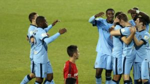 Manchester City's George Evans (3rd right) celebrates a goal with teammates during a friendly match against Toronto FC at BMO Field, Toronto, Canada.